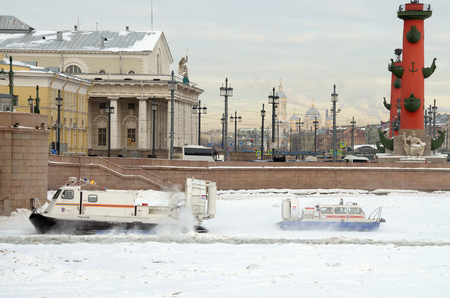 Saint-Petersburg.Russia.March.3.2018.The boat rescue service of Russia.The boat can work in hard-to-reach places.It can move on ice, land and water.Moving on a hovercraft. Editorial