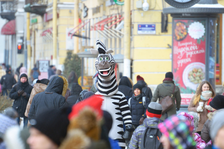 Saint-Petersburg.Russia.March.3.2018.The work of advertising agents.In costumes of animated characters.Invite buyers to the shops. Editorial