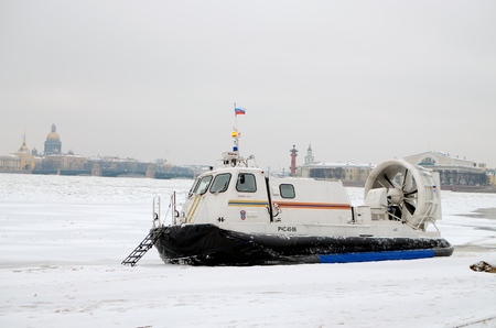 Saint-Petersburg.Russia.January.19.2018.The boat rescue service of Russia.The boat can work in hard-to-reach places.It can move on ice, land and water.Moving on a hovercraft.