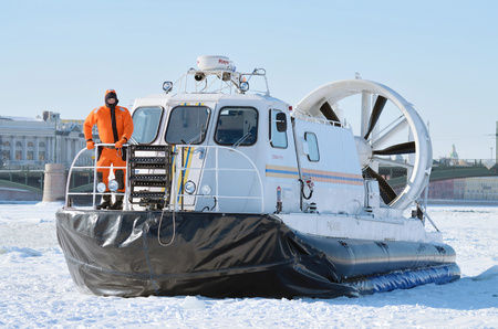 March.4.2018 :- Saint-Petersburg.Russia.The boat rescue service of Russia.The boat can work in hard-to-reach places.It can move on ice, land and water.Moving on a hovercraft.