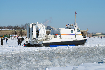 Saint-Petersburg.Russia.March.4.2018.The boat rescue service of Russia.The boat can work in hard-to-reach places.It can move on ice, land and water.Moving on a hovercraft. Editorial