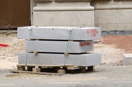 Work on city streets .The old tile on the pavement was replaced with a new one. Stock Photo