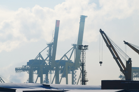 Port area in the city.Here, loading and unloading of ships is carried out.