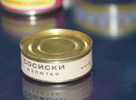 Saint-Petersburg.Russia.March.24.2018.Space museum.Food in canned food.Canned sausages in the Bank.astronauts eat in space.This is a special food in weightlessness.