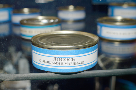 Saint-Petersburg.Russia.March.24.2018.Space museum.Food in canned food.Salmon in a tin can.astronauts eat in space.This is a special food in weightlessness.