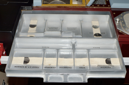 Saint-Petersburg.Russia.March.24.2018.Space museum.Special tray for food.On it astronauts took food.Here are the divisions for different products. Editorial