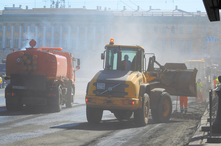 Saint-Petersburg.Russia.April.14.2018.Nevsky prospect.Work is underway on the laying of the road asphalt .Works are carried out in the accelerated mode.