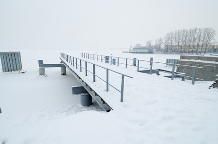 Marina for ships on the Bay.In winter, the water is covered with ice.