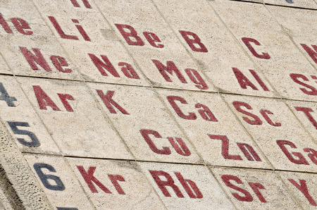 Chemical elements of the periodic table.They're mosaics on the wall. Standard-Bild - 102967303