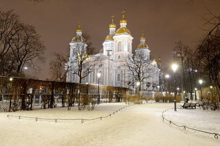 Saint-Petersburg.Russia.December.24.2018.St. Nicholas Naval Cathedral.The first Cathedral for sailors.Stands on Nikolskaya square.It is a monument of Church architecture.