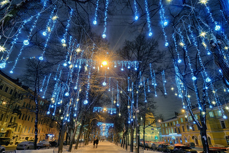Light illuminations on trees.So decorate the city before Christmas.