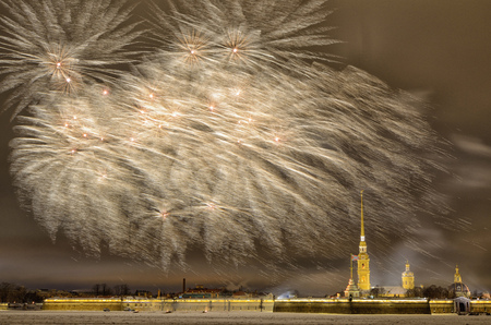 Beautiful festive fireworks for Christmas.Bright fireworks over the Peter and Paul fortress. 免版税图像