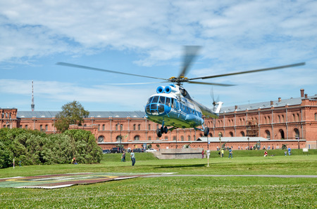 Saint-Petersburg.Russia.July.17.2016.Sightseeing tour of the city from a helicopter .For a fee, you can fly over the city for fifteen minutes.