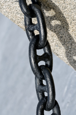 Powerful marine chain of solid steel.