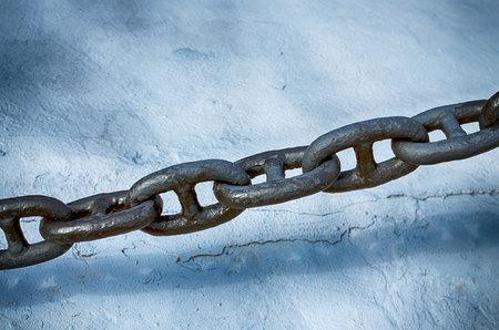 Powerful marine chain of solid steel.