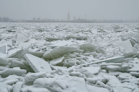 It's a cold and frosty winter.The Bay is covered with ice. Reklamní fotografie - 135033869