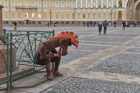 Saint-Petersburg.Russia.November 30.2019.The work of advertising agents.In costumes of animated characters.They offer to take a picture for memory. Reklamní fotografie - 135439473