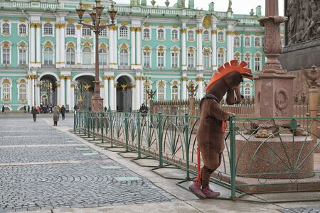 Saint-Petersburg.Russia.November 30.2019.The work of advertising agents.In costumes of animated characters.They offer to take a picture for memory. Reklamní fotografie - 135439541