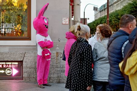 Saint-Petersburg.Russia.September .14.2019.The work of advertising agents.In costumes of animated characters.Invite buyers to the shops.
