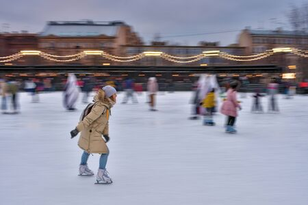 Saint-Petersburg.Russia.January 18.2020.Skating on the ice rink.Its good for your health.An active lifestyle brings a lot of joy.