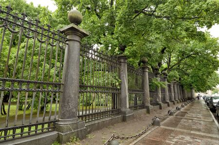 Marble fence on a city street.It has an aesthetic appearance and decorates the city.