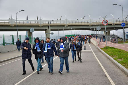 Saint Petersburg. Russia. October 24.2020. Zenit fans go to a football match They go to the Zenit Arena stadium, where they will cheer for their team. Redakční