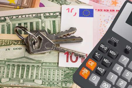 10 key: Keys on the dollar and euro money and calculator macro Stock Photo