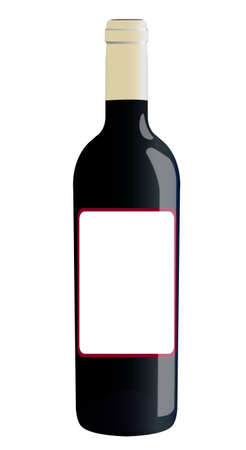 liqueur labels: bottle of wine isolated on a white background with a shade