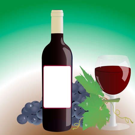 Bottle of wine, glass and grapes on a gradient background Vector