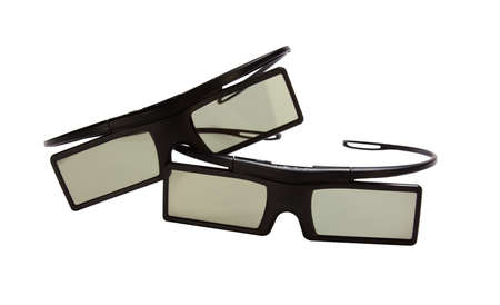 stereoscopic: Couple 3D glasses to view movies Isolated on white