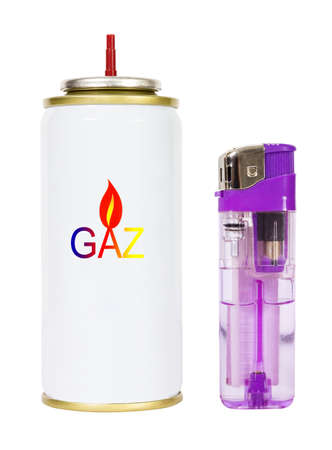 gas lighter: Gas and a lighter blue color insulated on white background.