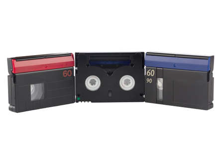 videocassette: Videocassette for video cameras isolated on white .