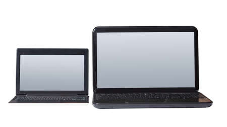 netbook: Computer isolated on white background with a netbook keyboard and display for personal use. Stock Photo