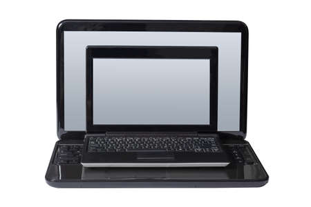 netbook: Netbook on the laptop and isolated on a white background.