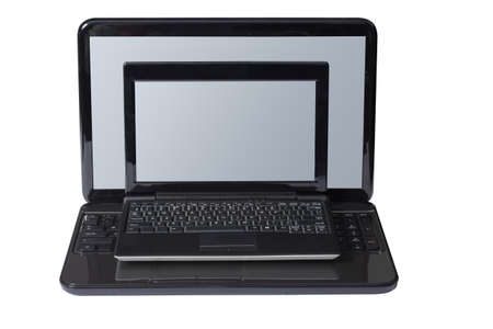 netbook: Netbook is on the laptop and isolated on a white background. Stock Photo