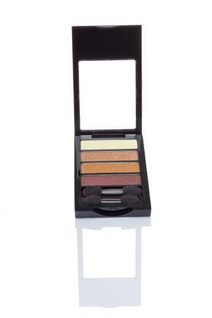 eyeshadow: Cosmetics, eyeshadow isolated on white background with reflection.