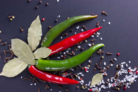 bay leaf: Chili pepper with bay leaf and spices