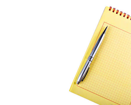 Yellow notebook silver handle, isolated on white background.