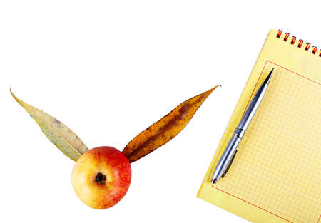 Notepad and pen with apple that is isolated on a white background.