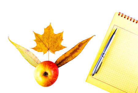 White background notebook, with apples and yellow wedge leaves. 版權商用圖片