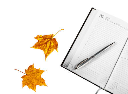 Notepad with pen isolated with white background, yellow leaves are isolated on a white background.