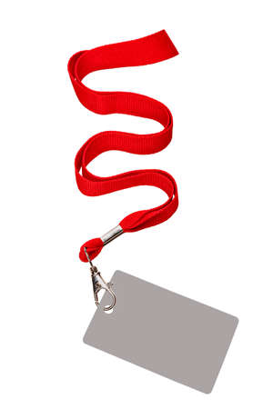 Pass red cord, badge is isolated in white, hung on the red ribbon.