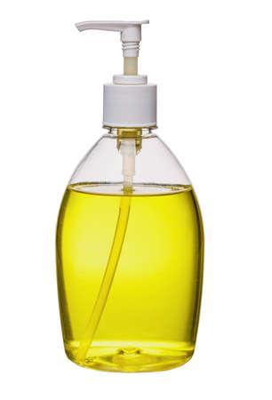 Yellow liquid soap bottle, Isolated on white background.