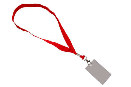 Red strap with a pass, isolated on white color. 版權商用圖片