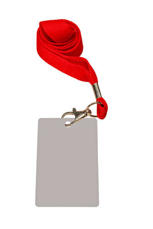 Collapsed red ribbon with badge, isolated on white color. 版權商用圖片