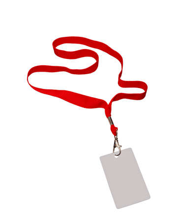 Pass grey color on red ribbon, isolated in white. 版權商用圖片