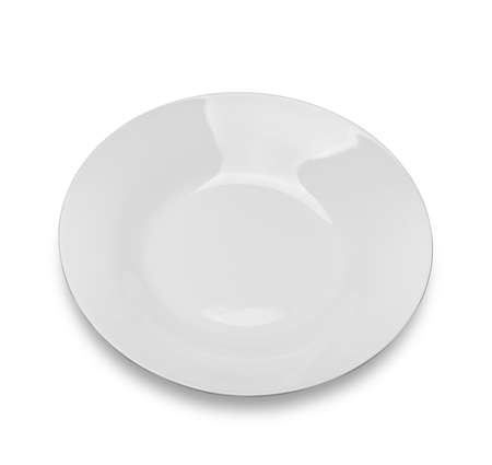 Empty plate with shadow, Isolated on white background.