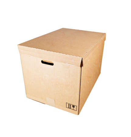 Cardboard box is isolated on a white background