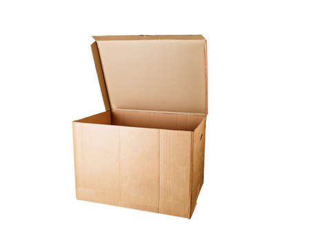 Cardboard box for storage, isolated against a white background.