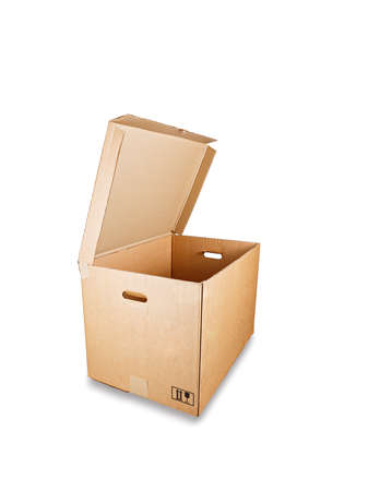 Open cardboard box, isolated against a white background.